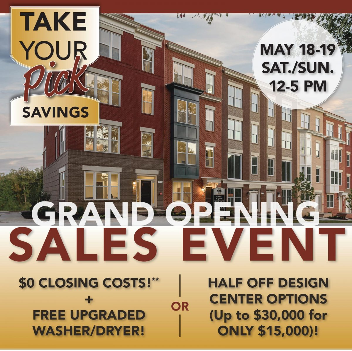 Pick Your Bonus! Grand Opening Sales Event May 18-19